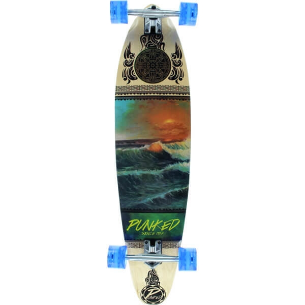 "Punked Skateboards Wave Scene Kicktail Longboard Complete Skateboard - 10"" x 40"""