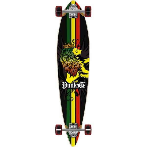 "Punked Skateboards Pintail Rasta Longboard Complete Skateboard - 9"" x 39.75"""