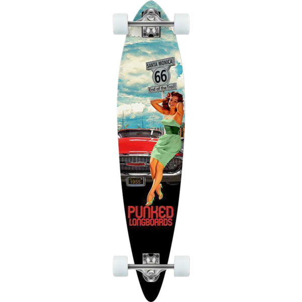 "Punked Skateboards Pintail Route 66 Girl Longboard Complete Skateboard - 9"" x 40"""