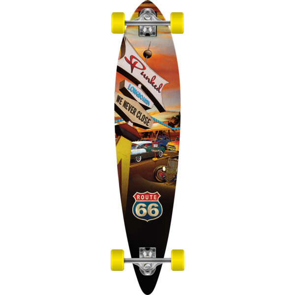 """Punked Skateboards Pintail Route 66 Diner Longboard Complete Skateboard - 9"""" x 40"""""""