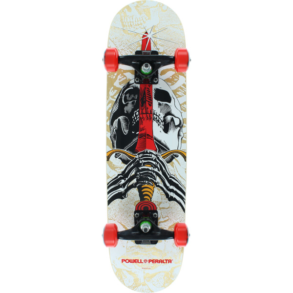 """Powell Peralta Skull & Sword Natural / White / Red Mid Complete Skateboards - 7.5"""" x 31.375"""""""