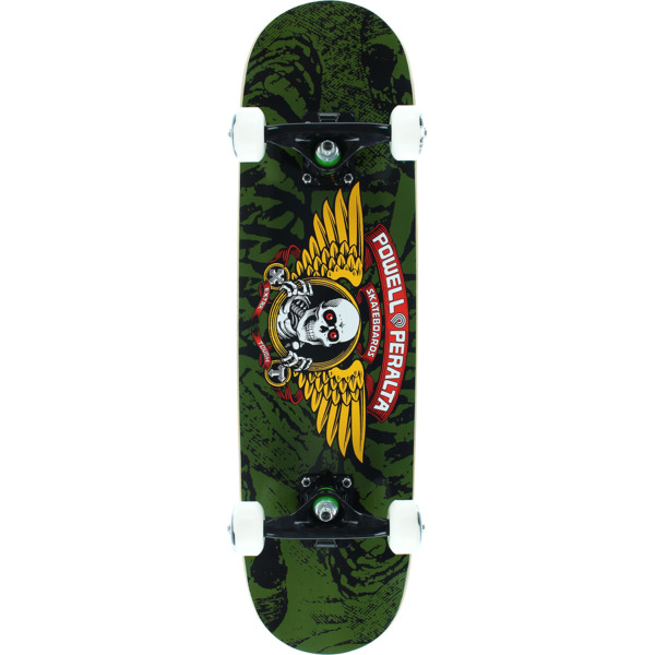 """Powell Peralta Winged Ripper Olive Mid Complete Skateboards - 7.5"""" x 28.65"""""""