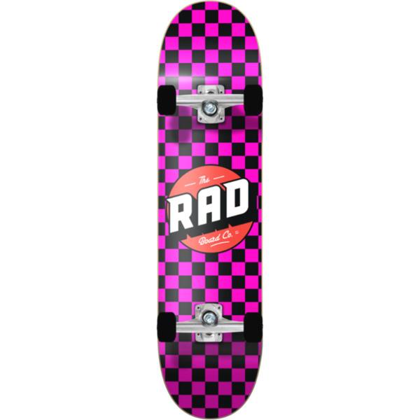 "RAD Wheels Checker 2 Black / Pink Mini Complete Skateboard - 7"" x 28"""