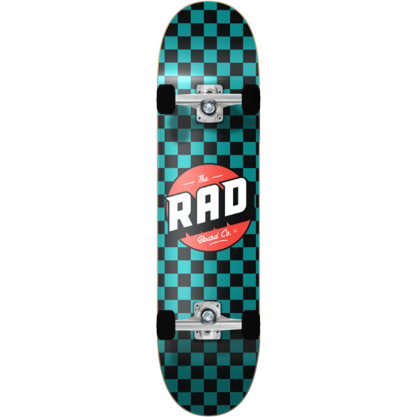 "RAD Wheels Checker 2 Black / Teal Mini Complete Skateboard - 7.2"" x 30"""