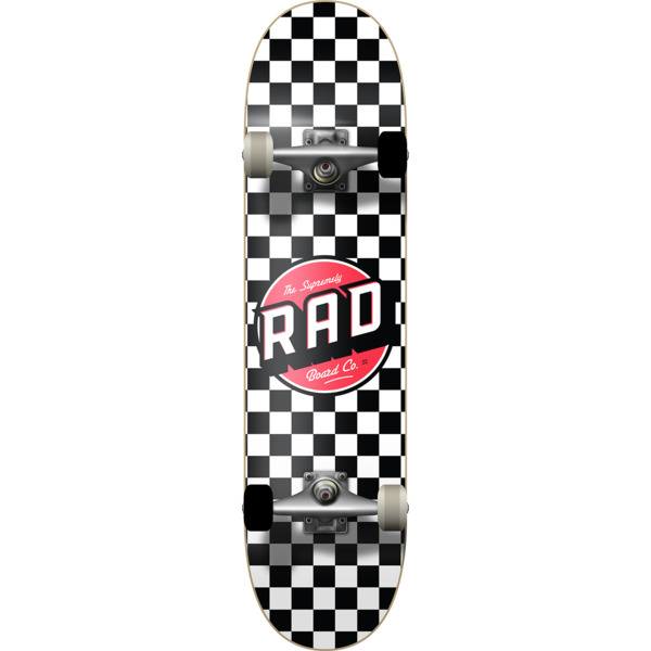 "RAD Wheels Checker 2 Black / White Mid Complete Skateboards - 7.5"" x 31"""