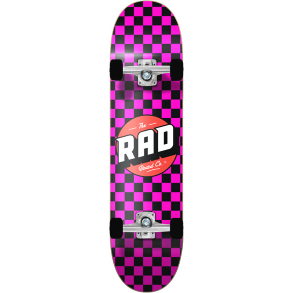 "RAD Wheels Checker 2 Black / Pink Complete Skateboard - 7.75"" x 31.25"""