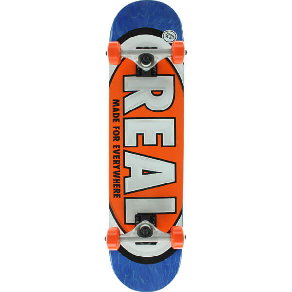 "Real Skateboards Team Oval Small Blue / Orange Mid Complete Skateboards - 7.5"" x 31.12"""