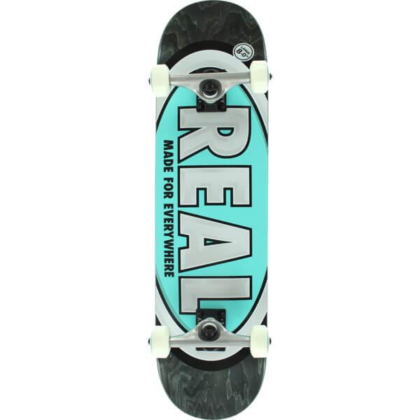 """Real Skateboards Team Oval Large Black / Teal Complete Skateboard - 8"""" x 32"""""""