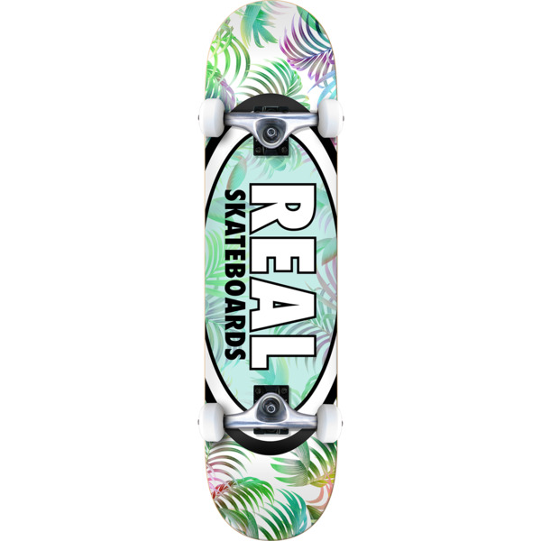 7e5fbb83a4f8 Real Skateboards Oval Tropics White   Green   Assorted Colors Complete  Skateboard - 7.75 x 31.25 - Warehouse Skateboards