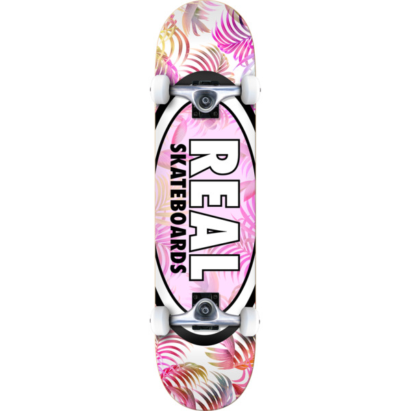 "Real Skateboards Oval Tropics White / Pink / Assorted Colors Complete Skateboard - 8"" x 32"""