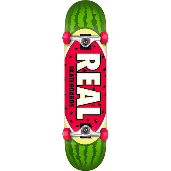 """Real Skateboards Oval Watermelon Mid Complete Skateboards - 7.5"""" x 30"""""""