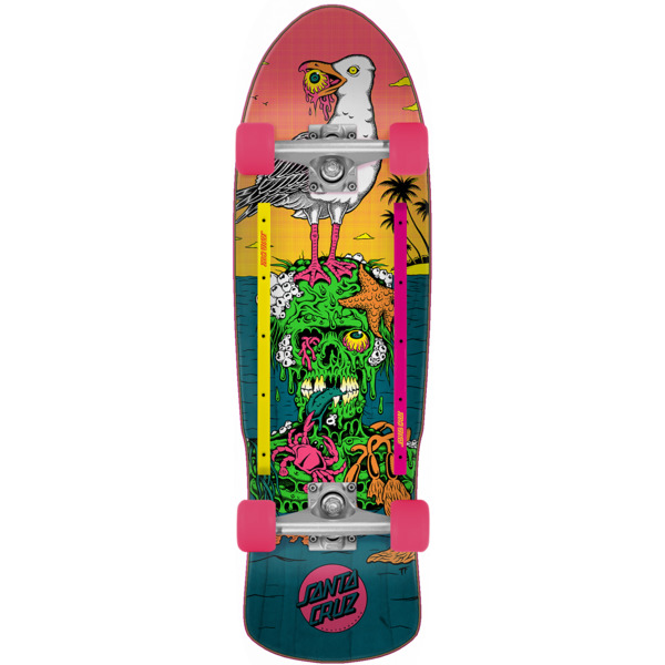 "Santa Cruz Skateboards Low Tide 80's Cruzer Complete Skateboard - 9.42"" x 31.88"""