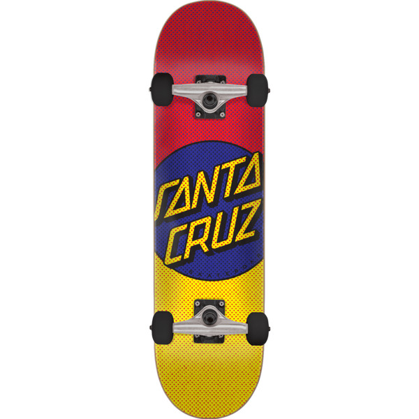 "Santa Cruz Skateboards Process Dot Red / Yellow / Purple Complete Skateboard - 8.25"" x 31.8"""