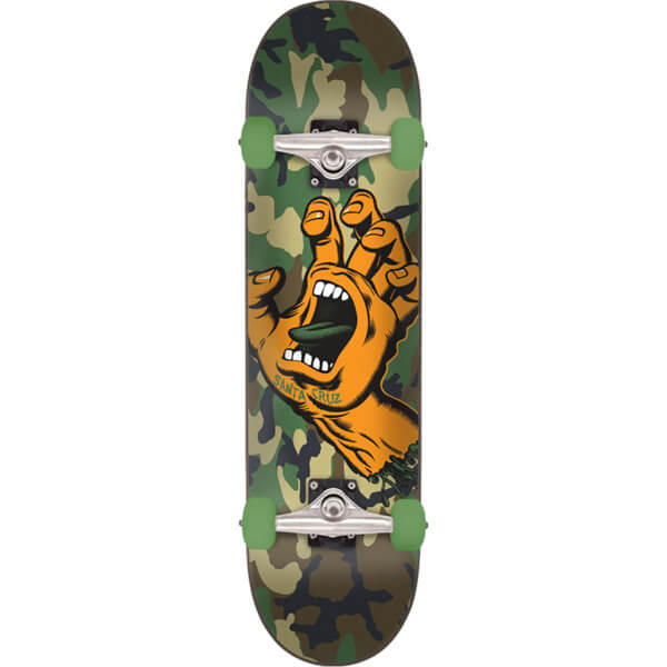 "Santa Cruz Skateboards Screaming Hand Camo Green Camo Mini Complete Skateboard - 6.75"" x 28.5"""