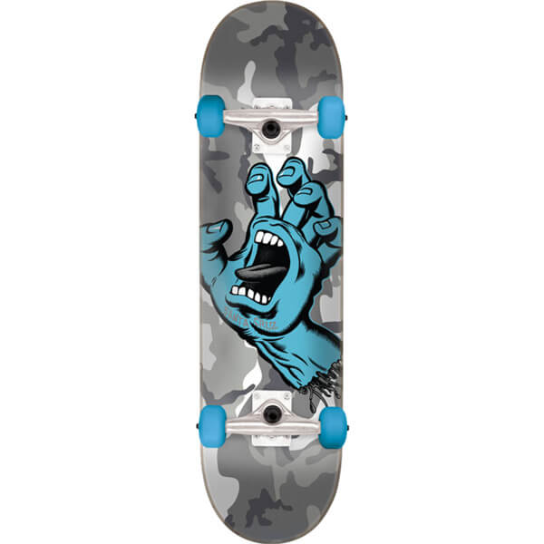 "Santa Cruz Skateboards Screaming Hand Camo Grey Camo Mid Complete Skateboards - 7.25"" x 29.9"""