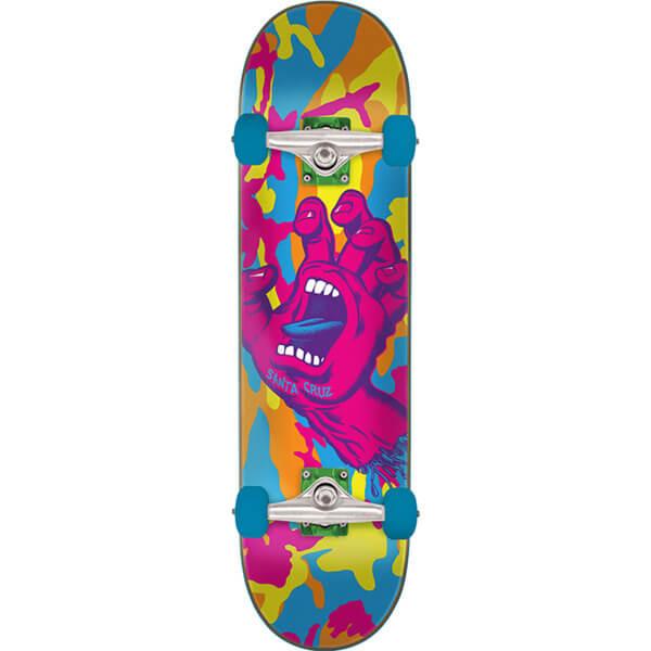 "Santa Cruz Skateboards Screaming Hand Camo Neon Camo Complete Skateboard - 7.75"" x 31.4"""