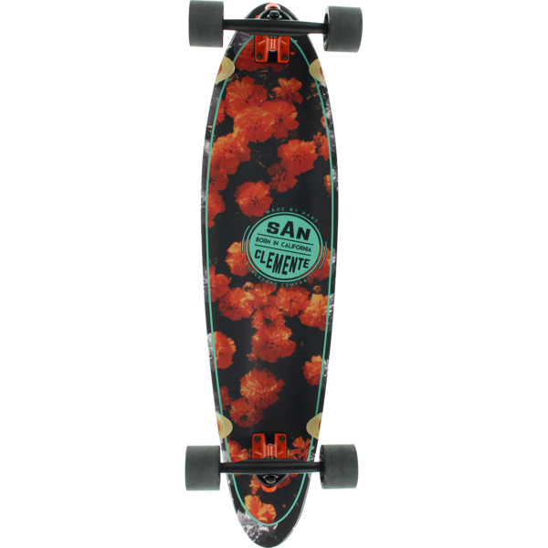 "San Clemente Longboards Orange Blossom Squashtail Longboard Complete Skateboard - 9"" x 36"""