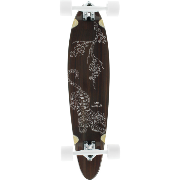 """San Clemente Longboards Tiger Lilly Pintail Cruiser Complete Skateboard - 8"""" x 34"""""""