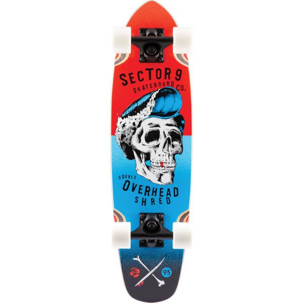 "Sector 9 Hair Barrel Hopper Red / Blue Cruiser Complete Skateboard - 7.5"" x 27.5"""