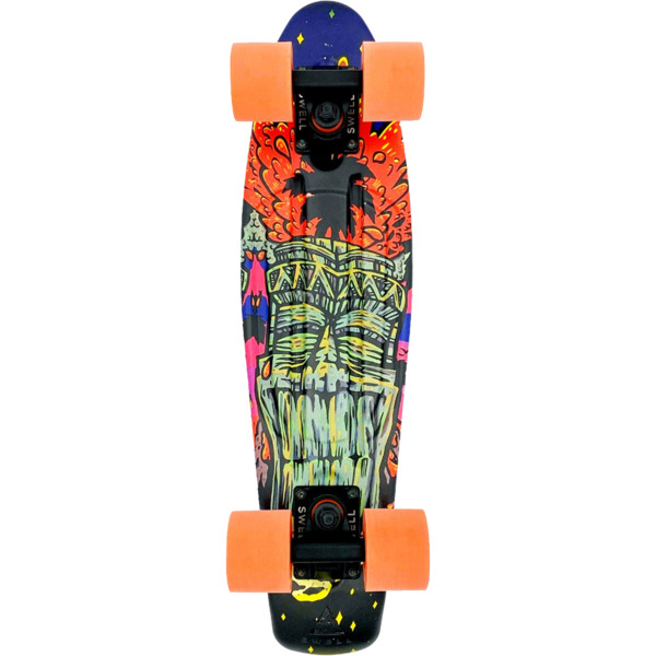 "Swell Skateboards Tiki Volcano Black / Black / Orange Cruiser Complete Skateboard - 6"" x 22"""