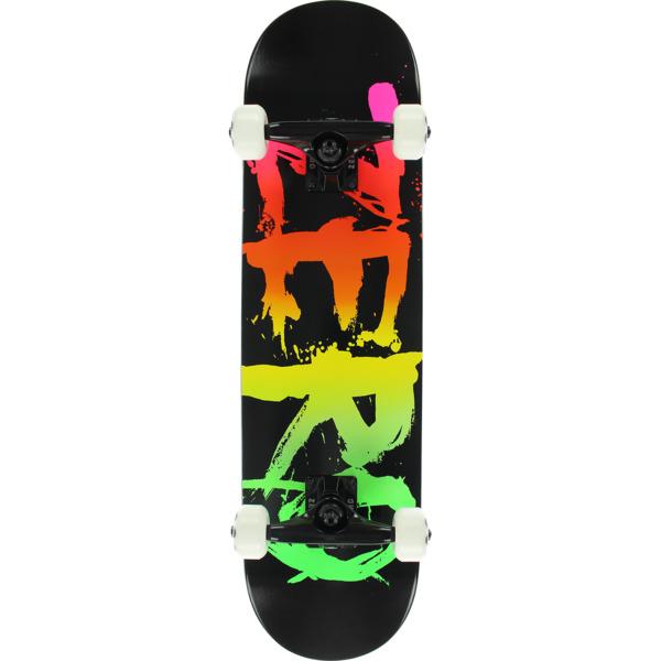 "Zero Skateboards Blood Text Black / Neon Rainbow Mid Complete Skateboards - 7.5"" x 31"""