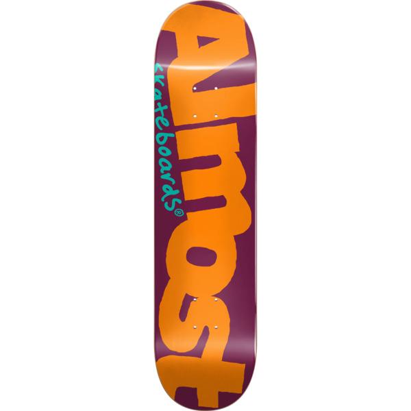 "Almost Skateboards Color Logo Orange / Burgundy Skateboard Deck - 8.12"" x 31.7"""