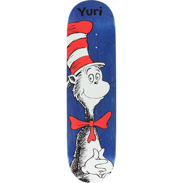 "Almost Skateboards Yuri Facchini Dr. Seuss Cat in the Hat Blue Skateboard Deck Resin-7 - 8"" x 31.7"""