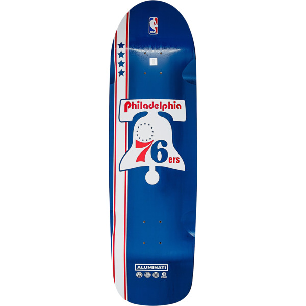 "Aluminati Skateboards NBA 76ers ""Retro Cruiser"" Cruiser Skateboard Deck - 9"" x 32.25"""