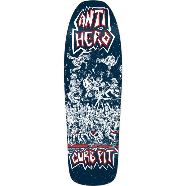 "Anti Hero Skateboards Curb Pit Blue Skateboard Deck - 10"" x 31.62"""