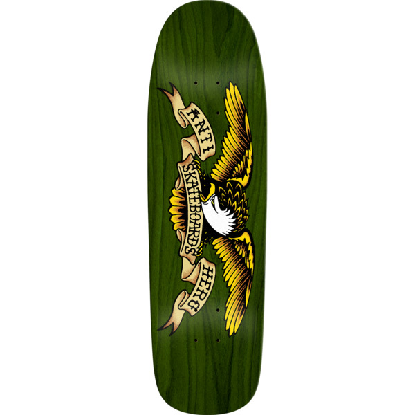 "Anti Hero Skateboards Shaped Eagle Overspray Green Dip Skateboard Deck - 9.56"" x 32.9"""