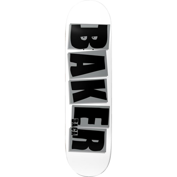 "Baker Skateboards Sammy Baca Brand Name White / Grey Skateboard Deck - 8"" x 31.5"""