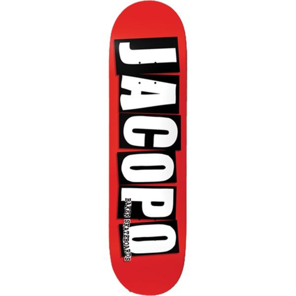 "Baker Skateboards Jacopo Carozzi Logo Red / White / Black Skateboard Deck - 8.25"" x 31.875"""