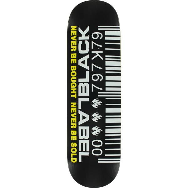 "Black Label Skateboards Barcode Black / White / Yellow Skateboard Deck - 8.75"" x 32.63"""
