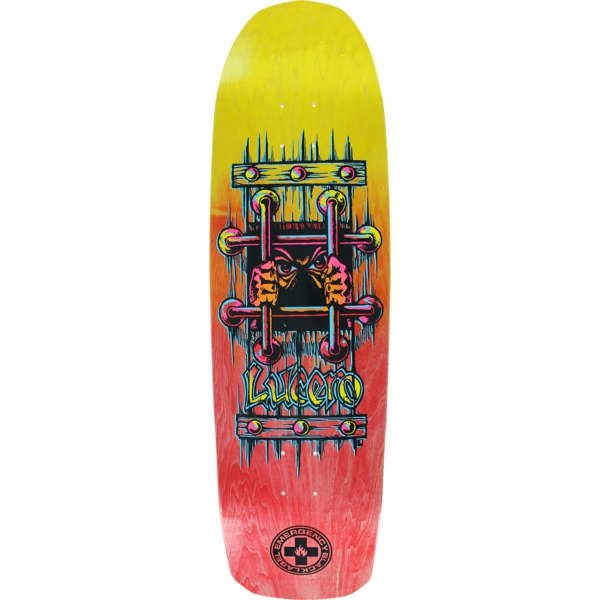 "Black Label Skateboards John Lucero OG Bars Yellow / Red Fade Skateboard Deck - 9.25"" x 33.25"""