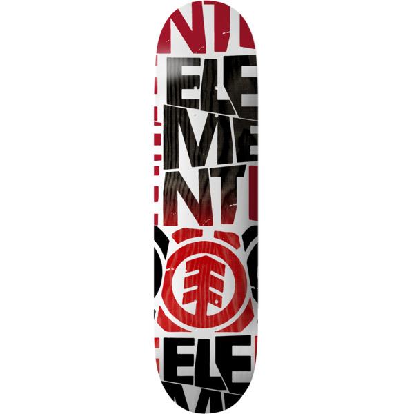 "Element Skateboards Blockers White / Red / Black Skateboard Deck - 8"" x 31.75"""