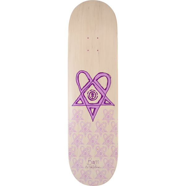 "Element Skateboards Bam Margera Heartagram Tyson White / Purple Skateboard Deck - 8.5"" x 32.7"""