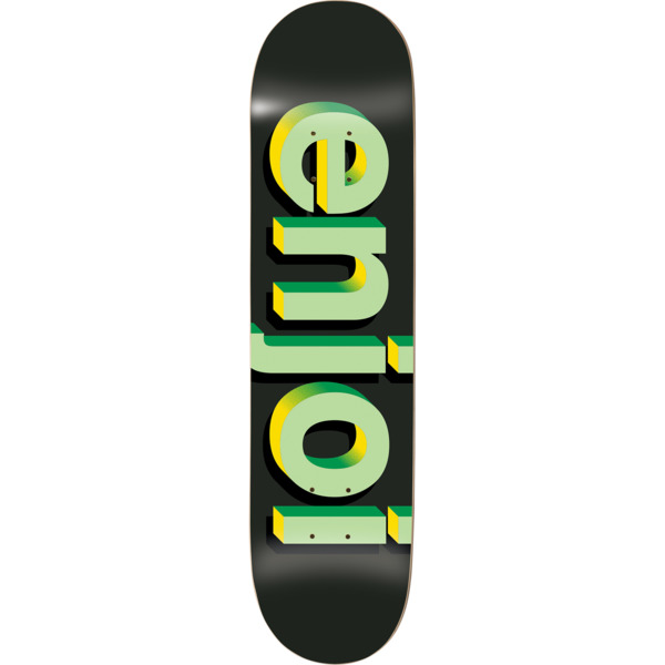 "Enjoi Skateboards Helvetica Neue Black / Green / Yellow Halftone Skateboard Deck - 7.75"" x 31.2"""