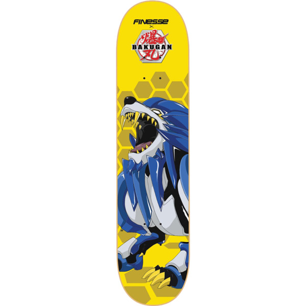 "Finesse Skateboards Bakugan Hydorous Yellow / Blue Skateboard Deck - 8.25"" x 32"""
