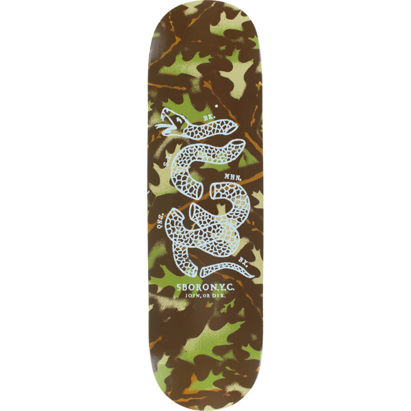 "5Boro NYC Skateboards DIY Camo Leaf Green Skateboard Deck - 8.37"" x 32"""