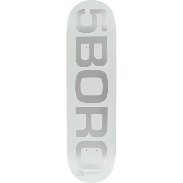 "5Boro NYC Skateboards EXT Logo White / Silver Skateboard Deck - 8"" x 32"""