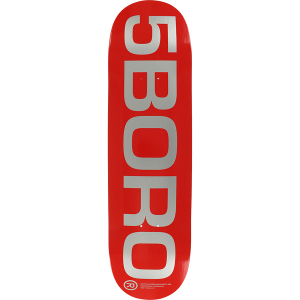 "5Boro NYC Skateboards EXT Logo Red / Silver Skateboard Deck - 8.25"" x 32"""