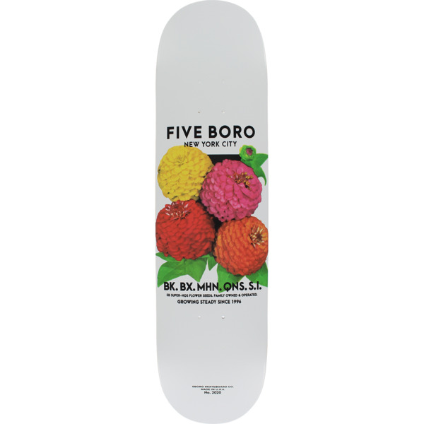 "5Boro NYC Skateboards Flower Seed White / Multi Skateboard Deck - 8.37"" x 32"""