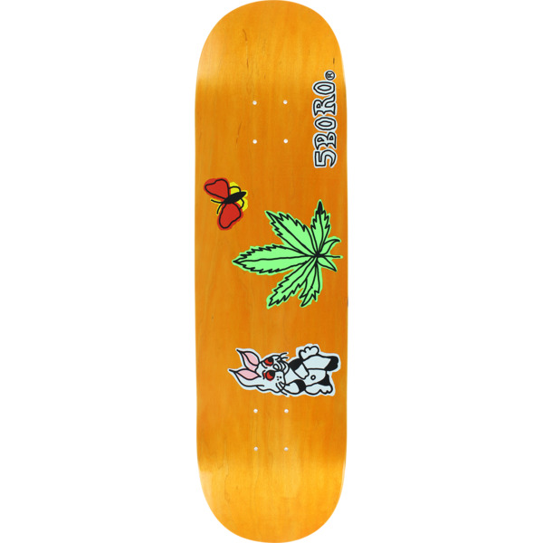 "5Boro NYC Skateboards Stoned Again Orange Skateboard Deck - 8.25"" x 32"""