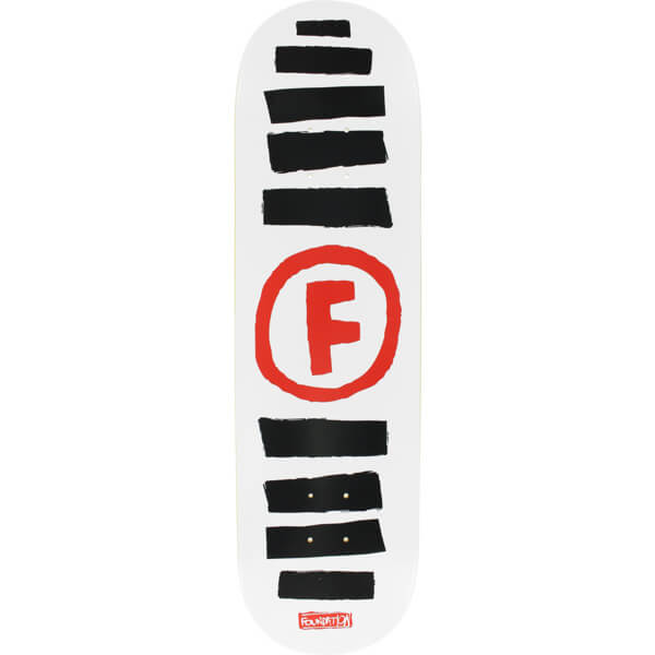 "Foundation Skateboards Doodle Stripe White / Black / Red Skateboard Deck - 8.5"" x 32.375"""