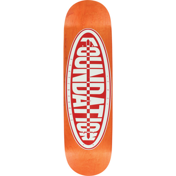 "Foundation Skateboards Oval Orange / Red Screened Skateboard Deck - 8.25"" x 32"""