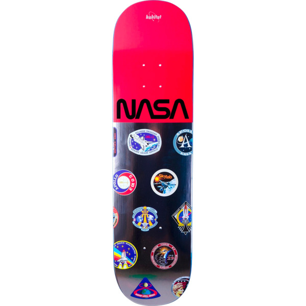 "Habitat Skateboards NASA Logo Array Red Skateboard Deck - 8.12"" x 31.75"""