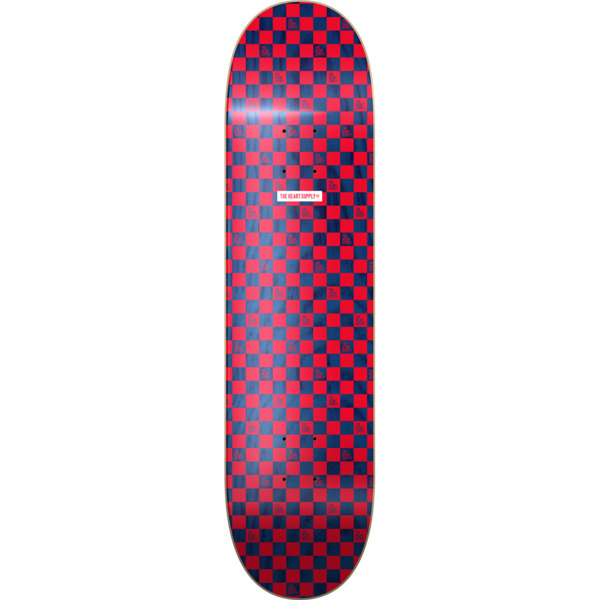"The Heart Supply Checkers Red / Navy Skateboard Deck - 8"" x 31.875"""