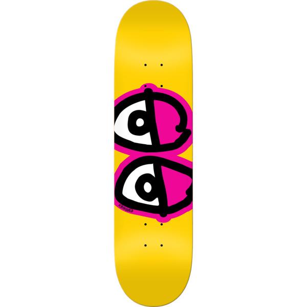 "Krooked Skateboards Team Eyes Yellow / Pink Skateboard Deck - 8.25"" x 32"""