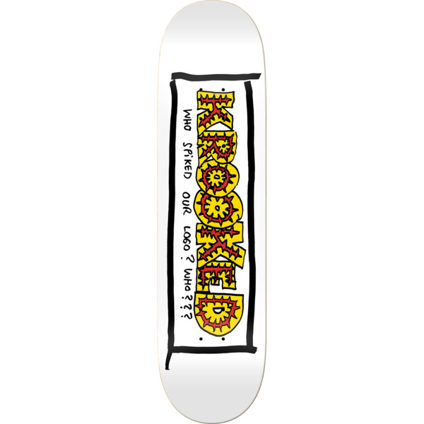 "Krooked Skateboards Team Spiked White Skateboard Deck - 8.25"" x 32"""
