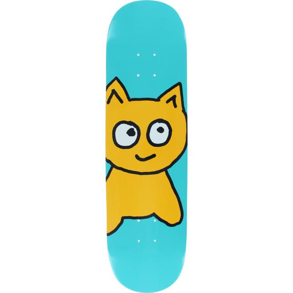 "Meow Skateboards Big Cat Teal Skateboard Deck - 8.25"" x 32.125"""